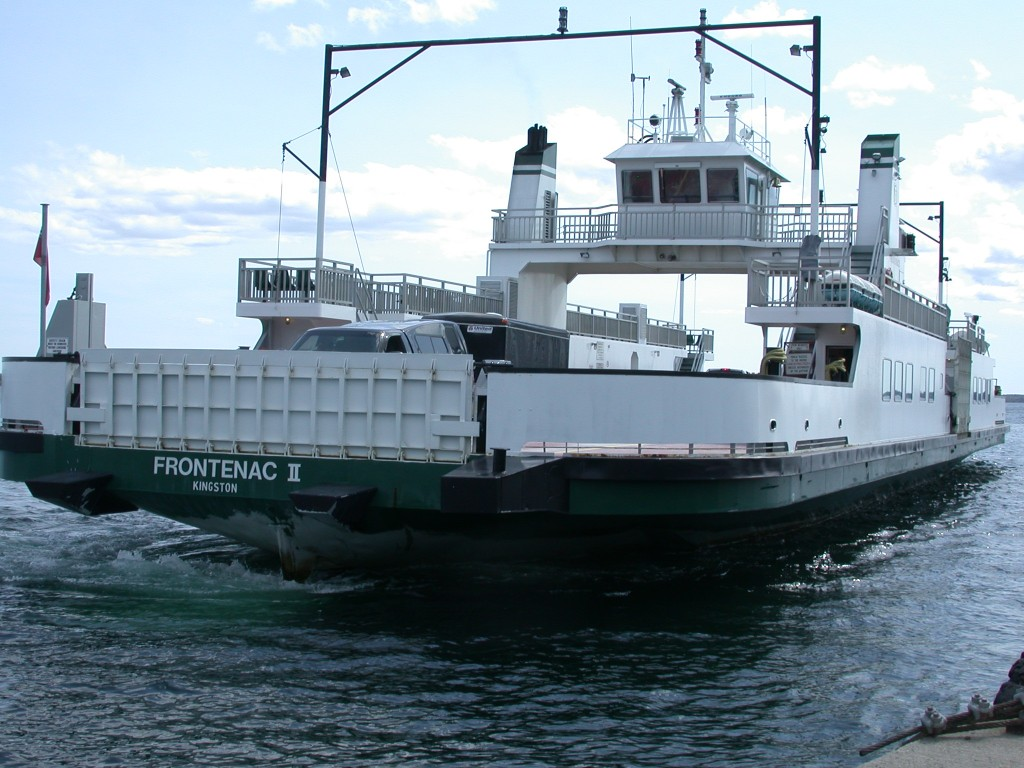Amherst Island ferry arriving at the mainland dock.
